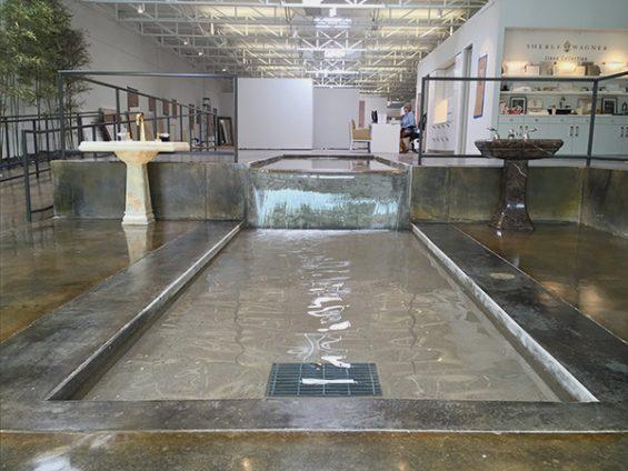 Sherle-Wagner-Dallas-Showroom, split level water feature,