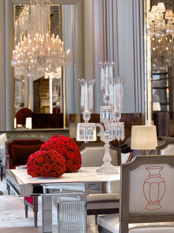 baccarat hotel, baccarat lobby, baccarat crystal, grand salon, rose arrangement, flower arrangement, baccarat chandelier, crystal chandelier, gerondole, crystal sconce, crystal candle holder, crystal candlesticks, red ball of roses, hotel design, midtown hotel, mid town hotel, moma, 53rd street,