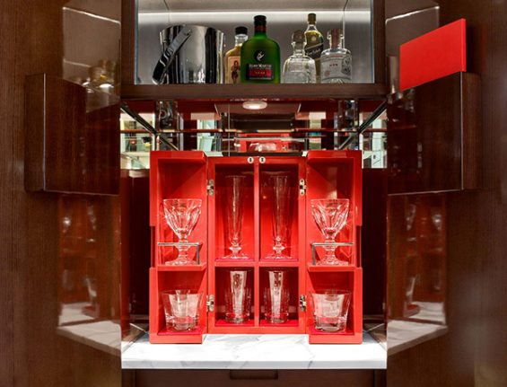 Minibar in a Baccarat Hotel room, baccarat hotel, new york hotel room, midtown hotel, luxury hotel, great hotel room, cool minibar, hotel minibar, red minibar, baccarat minibar, in room bar ,lacquered furniture