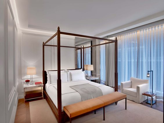 baccarat room, baccarat hotel, new york hotel room, white bedroom, midtown hotel, 4 poster bed, 53rd street, luxury hotel, great hotel room, what a master bedroom should be like, high rise bedroom
