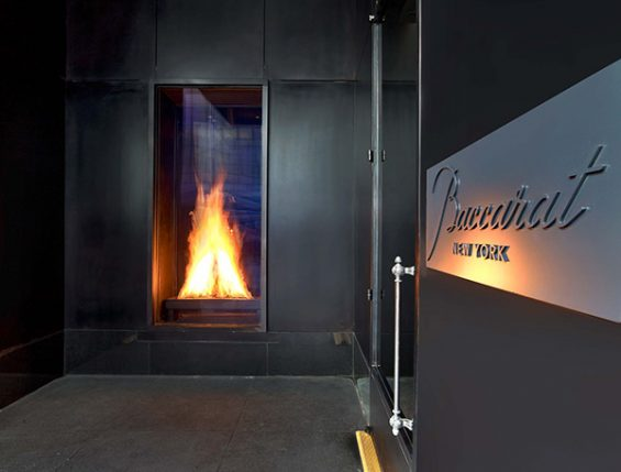 baccarat hotel, baccarat new york, baccarat furnace, double sided fireplace, hotel entrance, midtown hotel, luxury hotel, new york, 53rd street