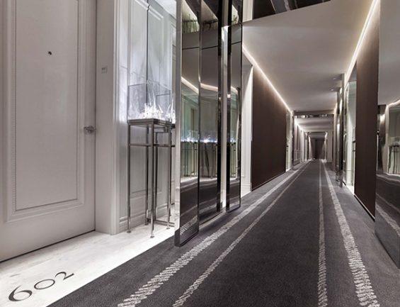 baccarat hotel, hotel hallway, hotel design, hospitality design, new york hotel, grey hallway carpet, 602, midtown hotel
