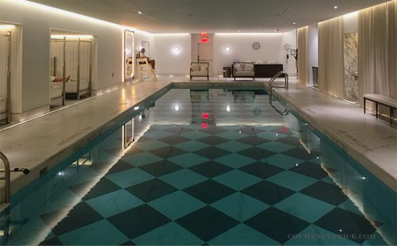 baccarat pool, baccarat fitness center, baccarat hotel, new york hotel, marble tile pool bottom,