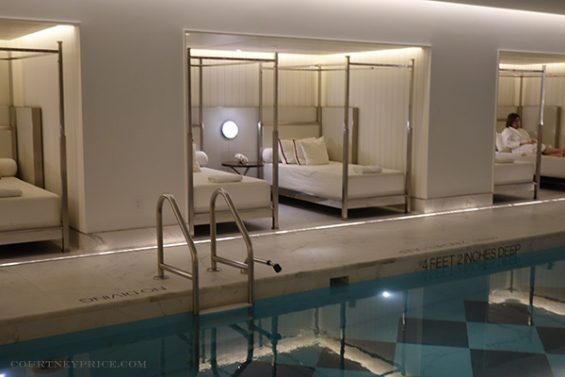 baccarat pool, baccarat fitness center, baccarat hotel, new york hotel, marble tile pool bottom, pool cabana, napping beds, poolside furniture