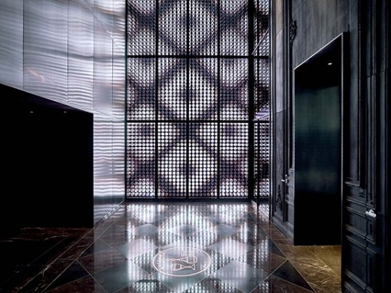 LED wall, light up display wall, programmable light display, hotel foyer, harcourt crystal, harcourt wall, harcourt glasses, iconic baccarat pattern, baccarat hotel, baccarat crystal wall, baccarat glasses wall, light show, LED light show to rhythm of music, LED snowfall, LED snowflakes