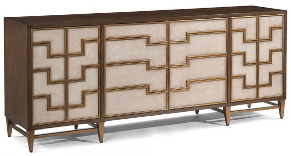 Pebble Shagreen and brass inlay Castleleigh Sideboard, Mark McDowell for John-Richard as seen on www.CourtneyPrice.com