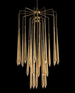 The Hans Chandelier with a Cascade of Twenty Three Brass Drop Lights at varying heights.