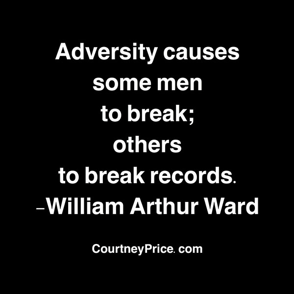 Adversity causes some men to break; others to break records. -William Arthur ward
