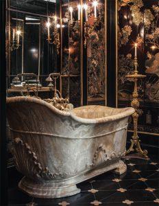 onyx tub, french bathroom, french decor, Chateau de Villette as seen on www.CourtneyPrice.com