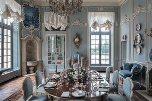 first dining room in a chateau, blue dining room, french decor, Chateau de Villette as seen on www.CourtneyPrice.com