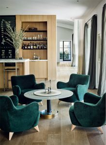 Green Velvet Chairs, gorgeous contemporary living design by Nicole Hollis- as seen on CourtneyPrice.com