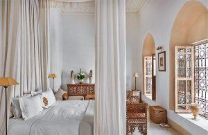 white master bedroom from Meryanne Loum-Martin's book Inside Marrakesh, as seen on CourtneyPrice.com
