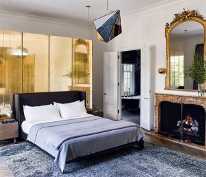 mixed contemporary bedroom designed by Nicole Hollis, as seen on CourtneyPrice.com
