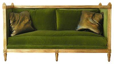 Gilt and green velvet French modern sofa, on CourtneyPrice.com