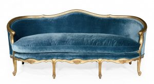blue velvet gilt french sofa, on CourtneyPrice.com
