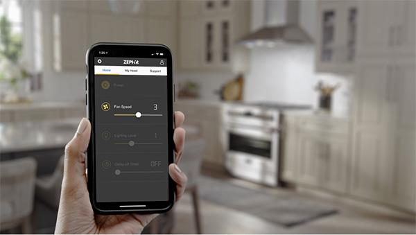Zephyr Connect app controls vent hood via phone, alexa, or google home, as seen on CourtneyPrice.com